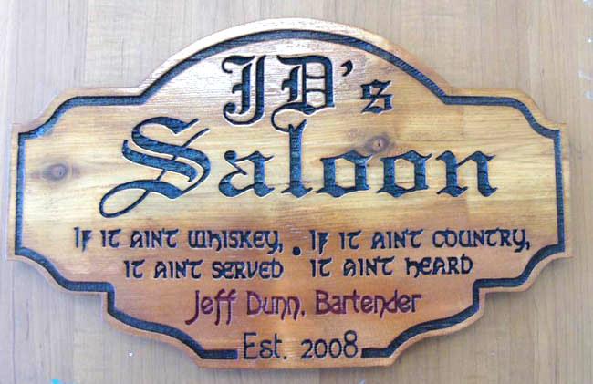"""RB27155 - Antiqued Wood Old West """"J.D.'s Saloon"""" Sign"""