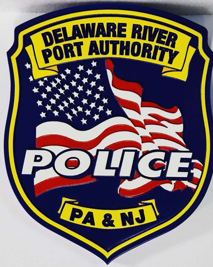 PP-3285 - Carved Plaque of the Emblem of the Delaware River Port Authority Police Department, 2.5-D Artist-Painted