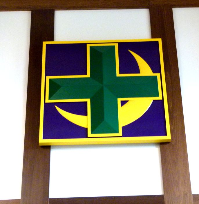 Y34508 - Carved HDU Cross and Crescent Wall Plaque, Lambda Chi Alpha Fraternity, mounted High on Interior Wall