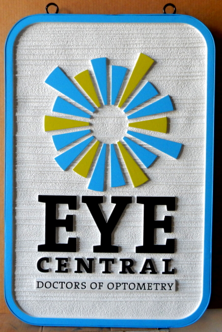 B11043 - Sandblasted HDU Optometric Practice Sign with Carved, Raised Logo and Border
