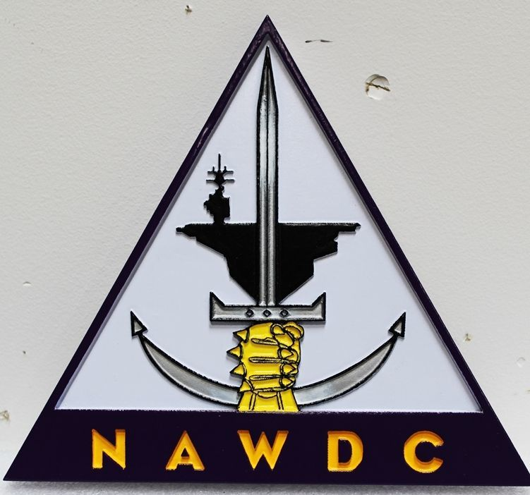 JP-1427 - Carved 2.5-D Relief Plaque of the Crest/Logo  of the Naval Aviation Warfighting Development Center (NAWDC)