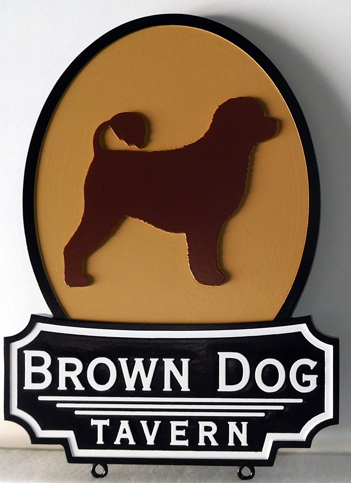 "RB27628 - Carved  and Sandblasted sign for the ""Brown Dog Tavern""."