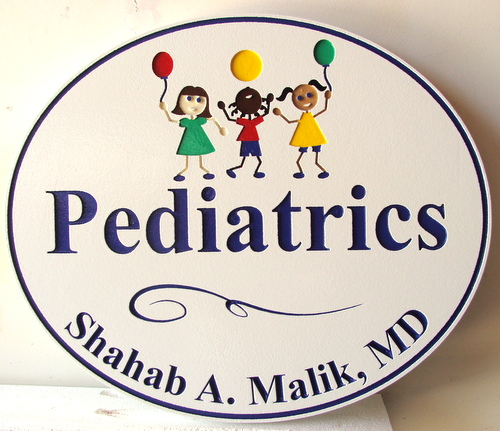 B11026 - Carved Pediatrician Office  Sign with Children