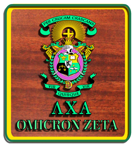 Y34552 - Carved 2.5D HDU on Redwood Wall Plaque for Lambda Chi Alpha Fraternity Coat-of-Arms