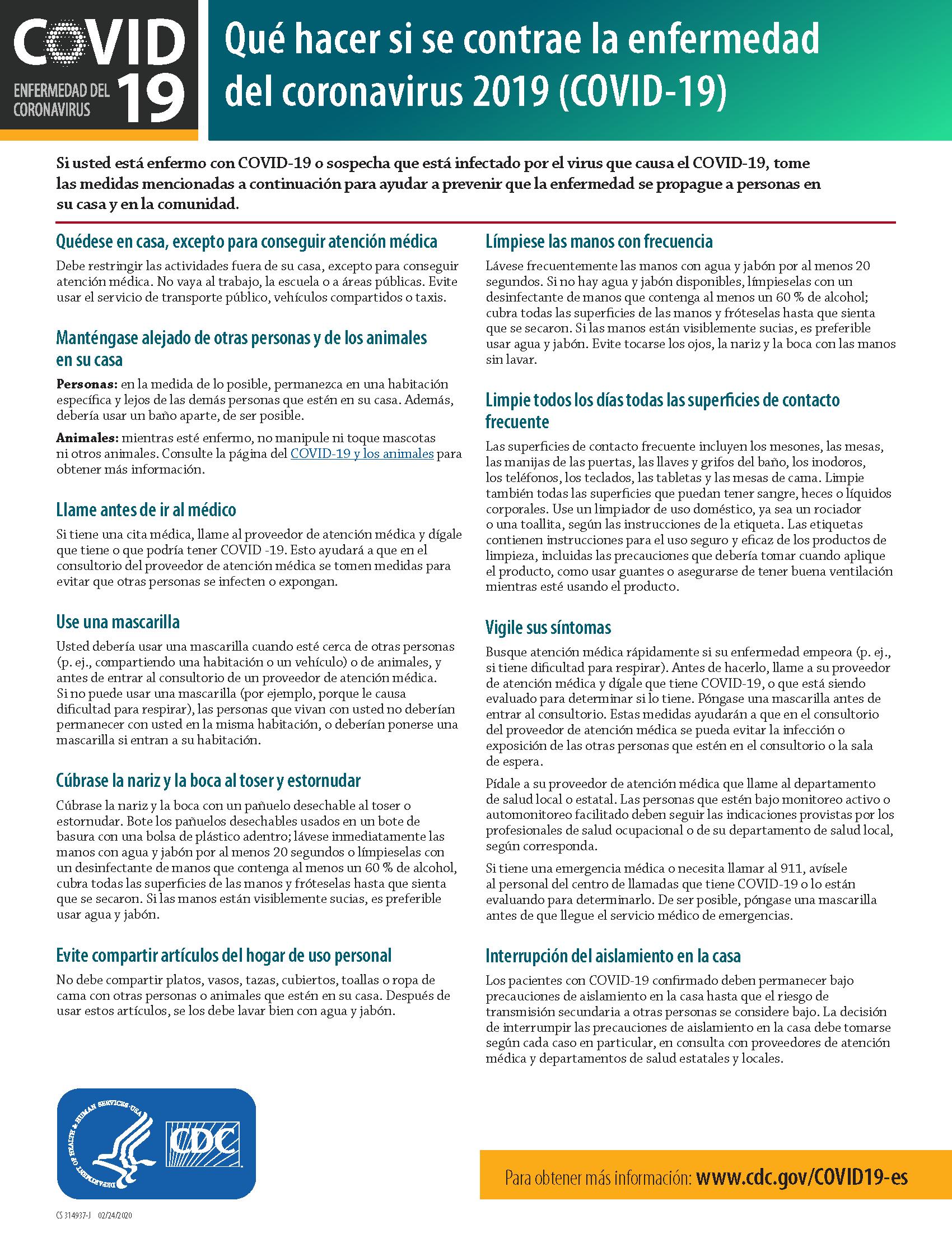 Qué hacer si se contrae la enfermedad del coronavirus 2019 (COVID-19)