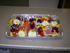 A meal featuring edible flowers