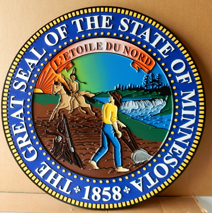 BP-1265- Carved Plaque of the great Seal of the State of Minnesota, Artist Painted
