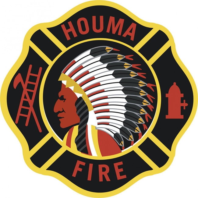 QP-1150 - Carved Wall Plaque of  the Emblem/Badge of a Fire Department, Houma, Artist Painted