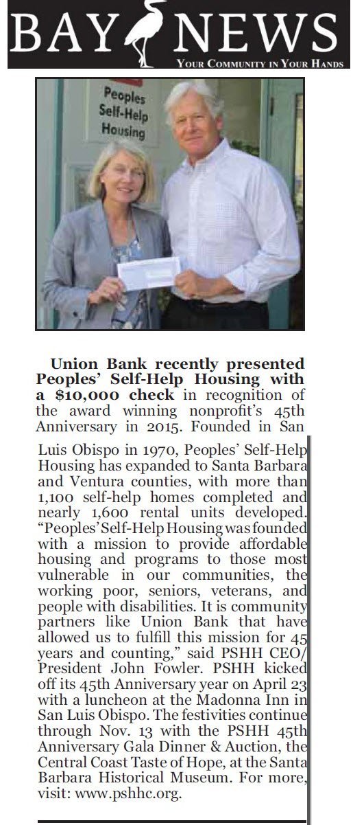 Union Bank recently presented Peoples' Self-Help Housing with a $10,000 check - Bay News