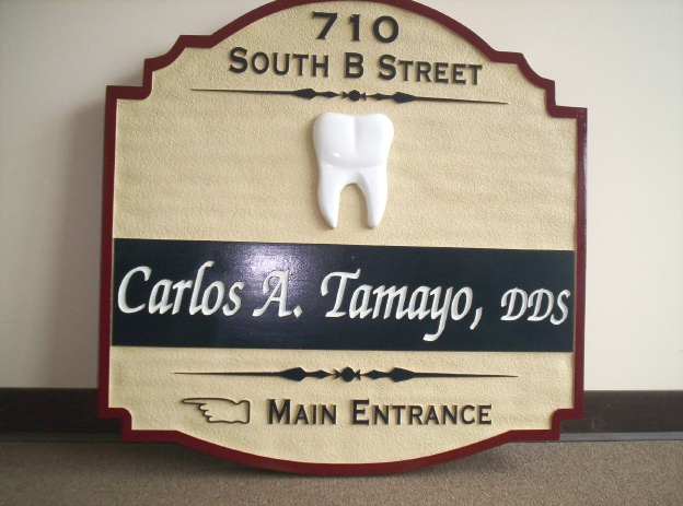BA11582 – Sandblasted Dentist Wall Sign with Carved Molar