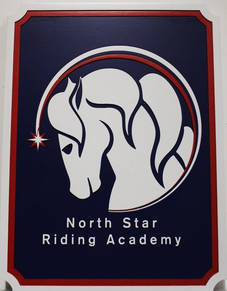 P25098 - Carved 2.5D HDU Sign was  for the North Star Riding Academy., with the  Stylized Face of a Horse as Artwork