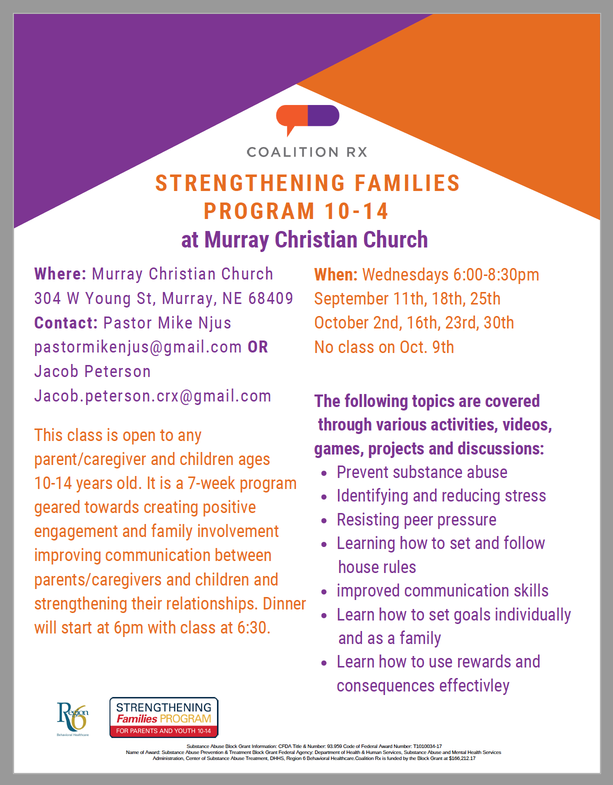 Strengthening Families 10-14 with Murray Christian Church