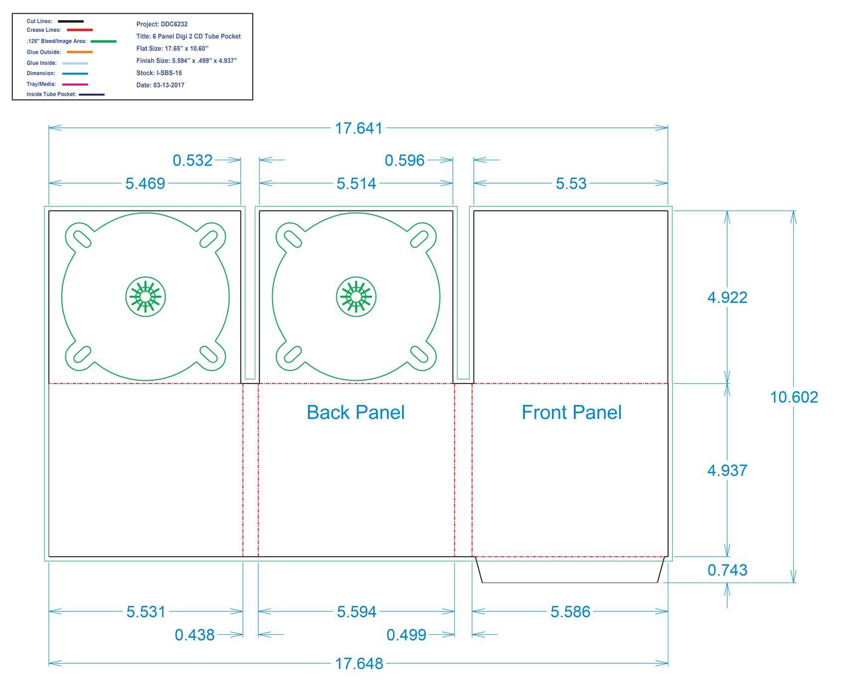 DDC6232 - 6 Panel Digi Two Trays Tube Pocket Inside Left