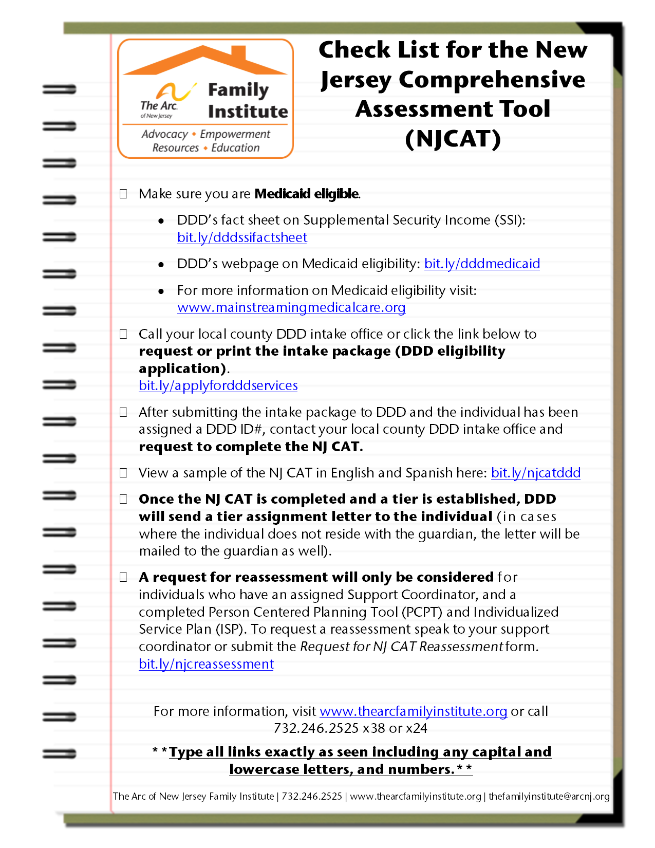 Check List for the New Jersey Comprehensive Assessment Tool (NJ CAT) Checklist