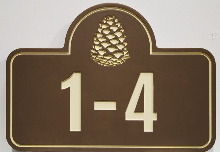 KA20879 - Elegant Carved HDU  Elegant Apartment Building Sign with Unit Numbers and a Pinecone as Artwork