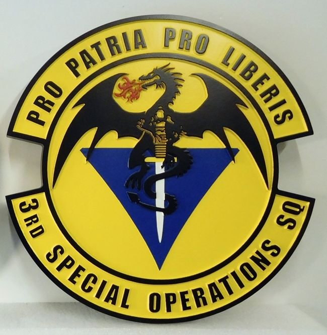 """LP-3660 - Carved Round Plaque of the Crest of the 3rd Special Operations Squadron, """"Pro patria pro liberis"""",  Artist Painted"""