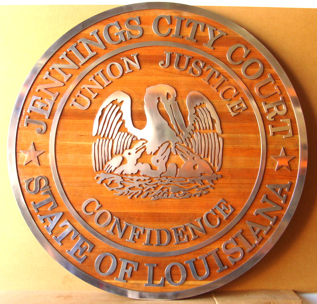 A10865 - Carved Cedar Wood Wall Plaque for the City Court of Jennings, Louisiana, with Silver Leaf and Mother Pelican and Chicks