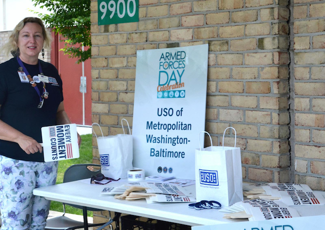 USO Table at the Armed Forces Day Celebration.