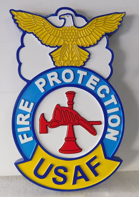 QP-3150 - Carved Wall Plaque of  the Crest/Badge  of the US Air Force Fire Protection Group, Artist Painted