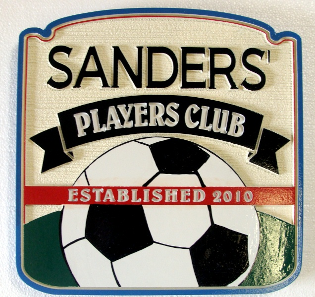 Y27305 - Carved Soccer Sports Bar  Plaque