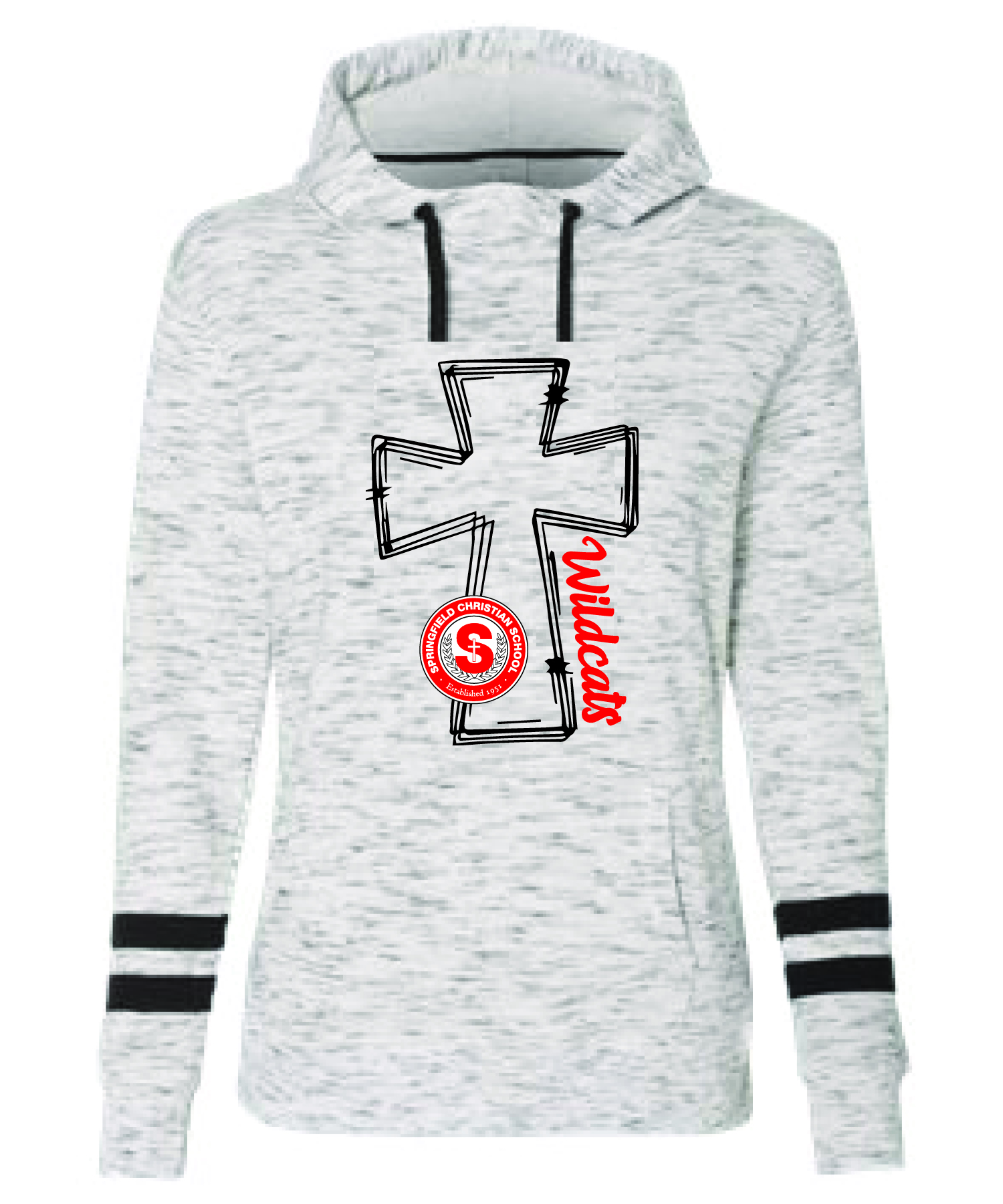 J. America - Fleece Striped-Sleeve Hooded Sweatshirt (WOMENS) CROSS LOGO