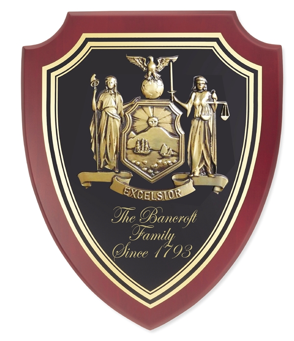 XP-2140 - Carved Shield Wall Plaque of Family Coat-of-Arms / Crest, Brass Plated with Mahogany Wood