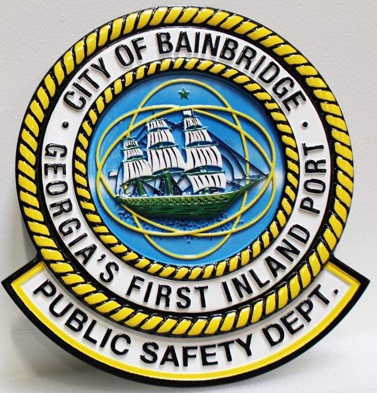 PP-3327 - Carved 3-D HDU Plaque of the Seal of the Public Safety Department of theCity of Bainbridge, Georgia