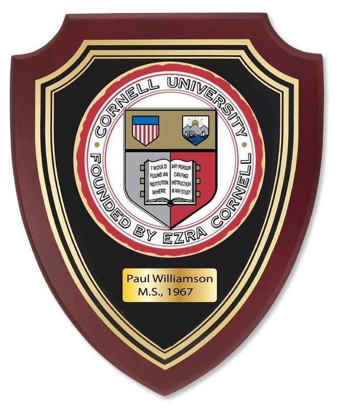 Y34342 - Carved Mahogany Personalized  Plaque with the Seal of Cornell University
