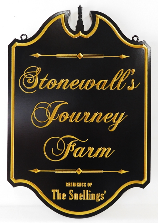 "O24042 - Formal Ornate Engraved  Sign for ""Stonewall's Journey Farm"", with  24K Gold Leaf Gilded Text"