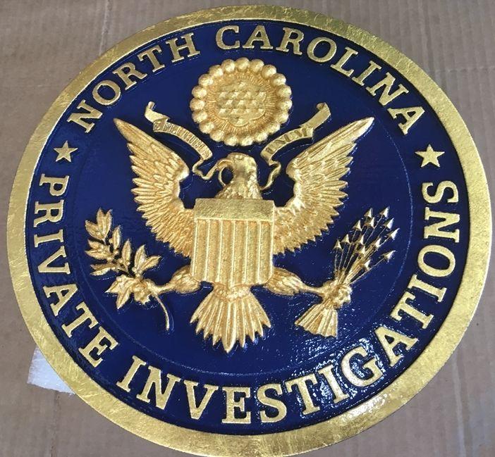 "S28031 - Carved 3-D Sign  for  ""North Carolina Private Investigations"" , with 24K Gold Leaf Gilding"