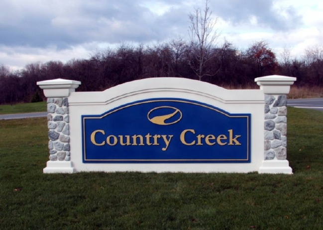 K20036 - EPS Monument Sign for Residential Community, Faux Stone Pillars