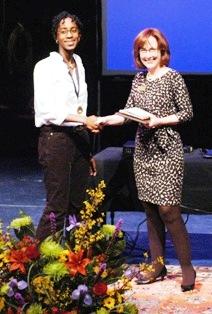Jeanie Thompson congratulates Doris-Anne Darbouze, Original Poetry winner.