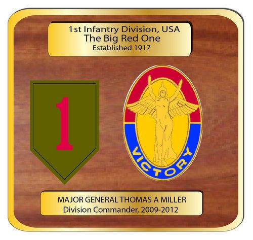 "MP-3320 - Engraved  Command  Plaque, ""The Big Red One"" 1st Division,  US Army (USA), Personalized,  Mahogany Wood with Brass Plates"