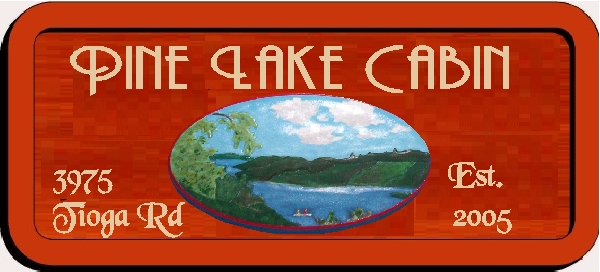 M22326 - Design of Caeved Wood Address Sign for Pine Lake Cabin