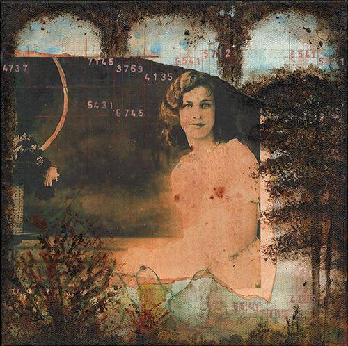 """Mary Barsi, Age 15 : June 6, 1932, acrylic paint, mixed media on canvas, 12"""" x 12"""""""