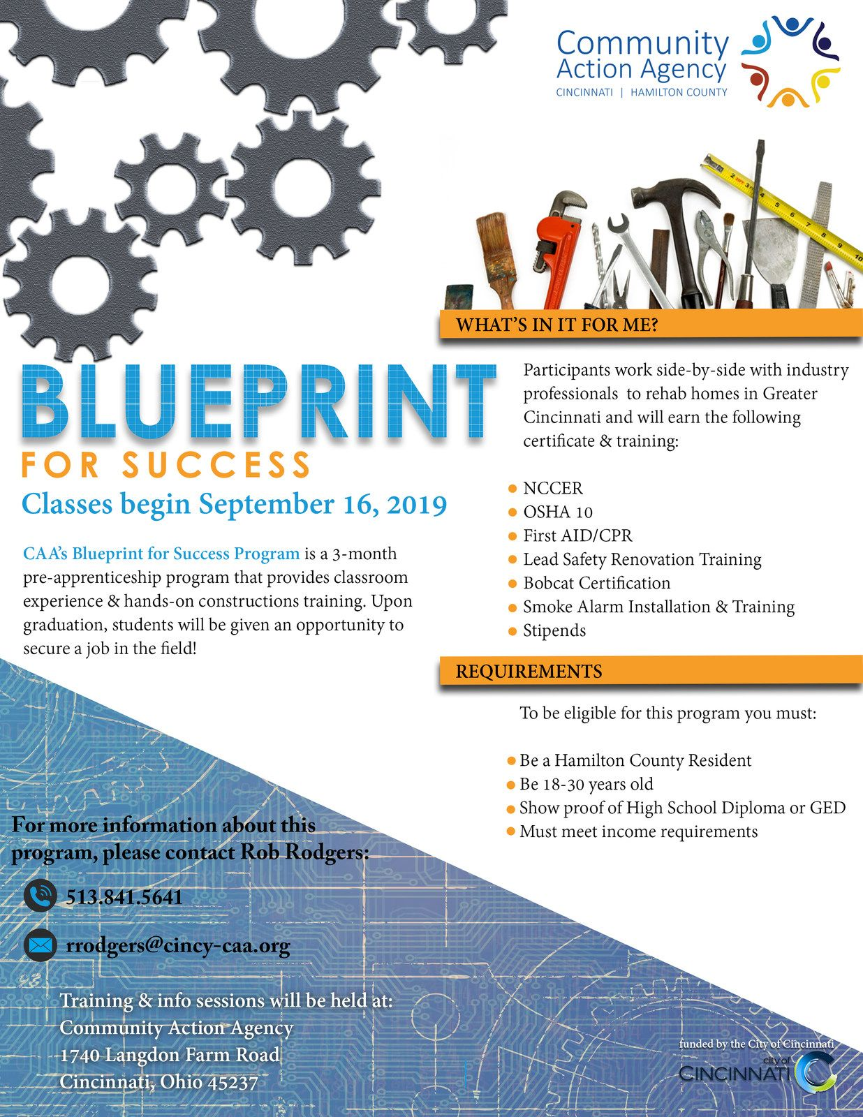 CAA's BluePrint for Success Construction Training Program - Classes Begin September 16, 2019