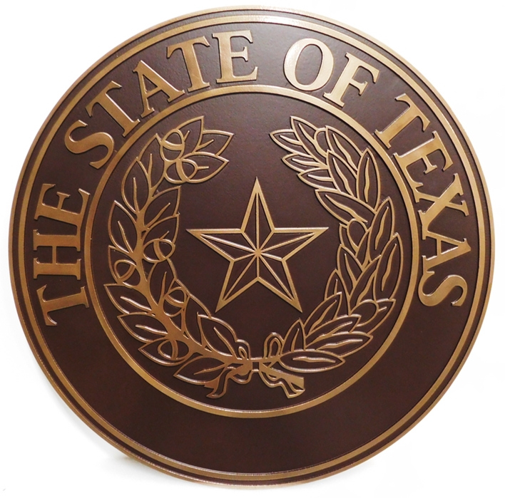 BP-1515 - Carved Plaque of the Great Seal of the State of Texas, Bronze-Plated