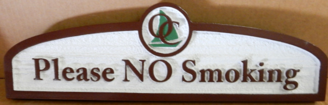 "T29446 - Carved and Sandblasted  HDU  ""No Smoking"" Sign for Guest Ranch"