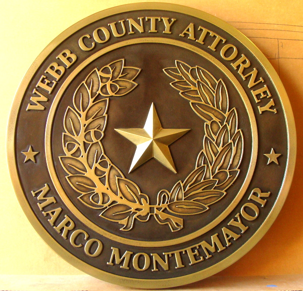 A10903 - Carved 3-D Brass Courtroom  Wall Plaque, for Attorney Office in Webb County, Texas