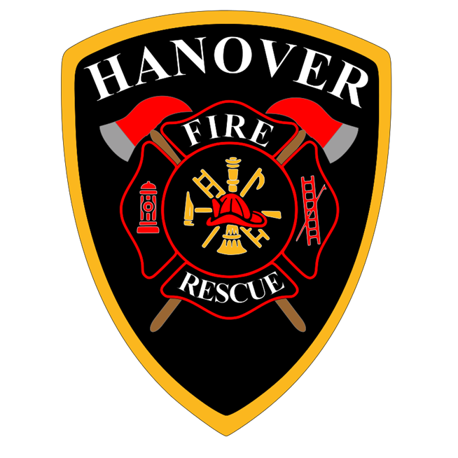 QP-2090 - Carved Wall Plaque of  the Shoulder Patch of the Hanover Fire & Rescue Department, Virginia, Artist Painted