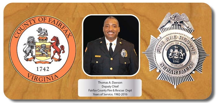 EA-1095 - Mahogany Plaque for a Deputy Chief of the Fairfax County Fire Department , with Photo, County Seal and Department Bsdge
