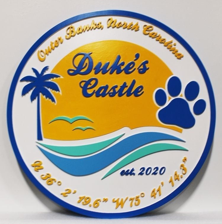 "l21042 - Carved 2.5-D Multi-level  Beach House Name Sign ""Duke's Castle"", on the Outer Banks of North Carolina, with .a Palm Tree, a  Dog Print, and Ocean Surf.as Artwork,"