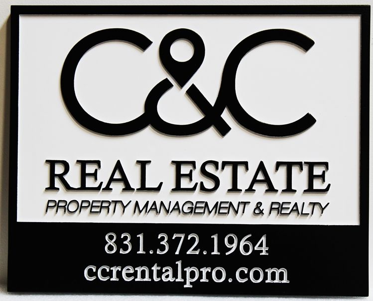 C12281 - Carved 2.5D HDU Sign for the C&C Real Estate Property Management & Realty Company