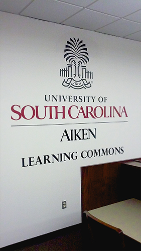USC Aiken Learning Common Wall Lettering