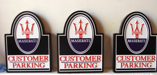 """SA28752 - Carved HDU Signs for """"Customer Parking""""with Maserati Logo"""