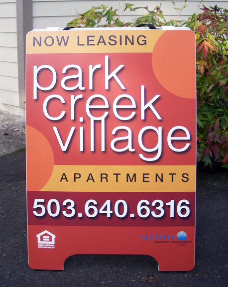 Park Creek Village A-board Sign