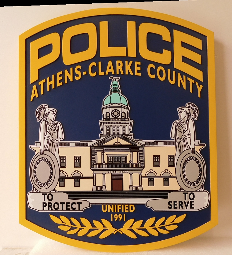 PP-2140 - Carved  Wall Plaque of the Shoulder Patch of the Athens-Clark County Police,  Georgia., Artist Painted