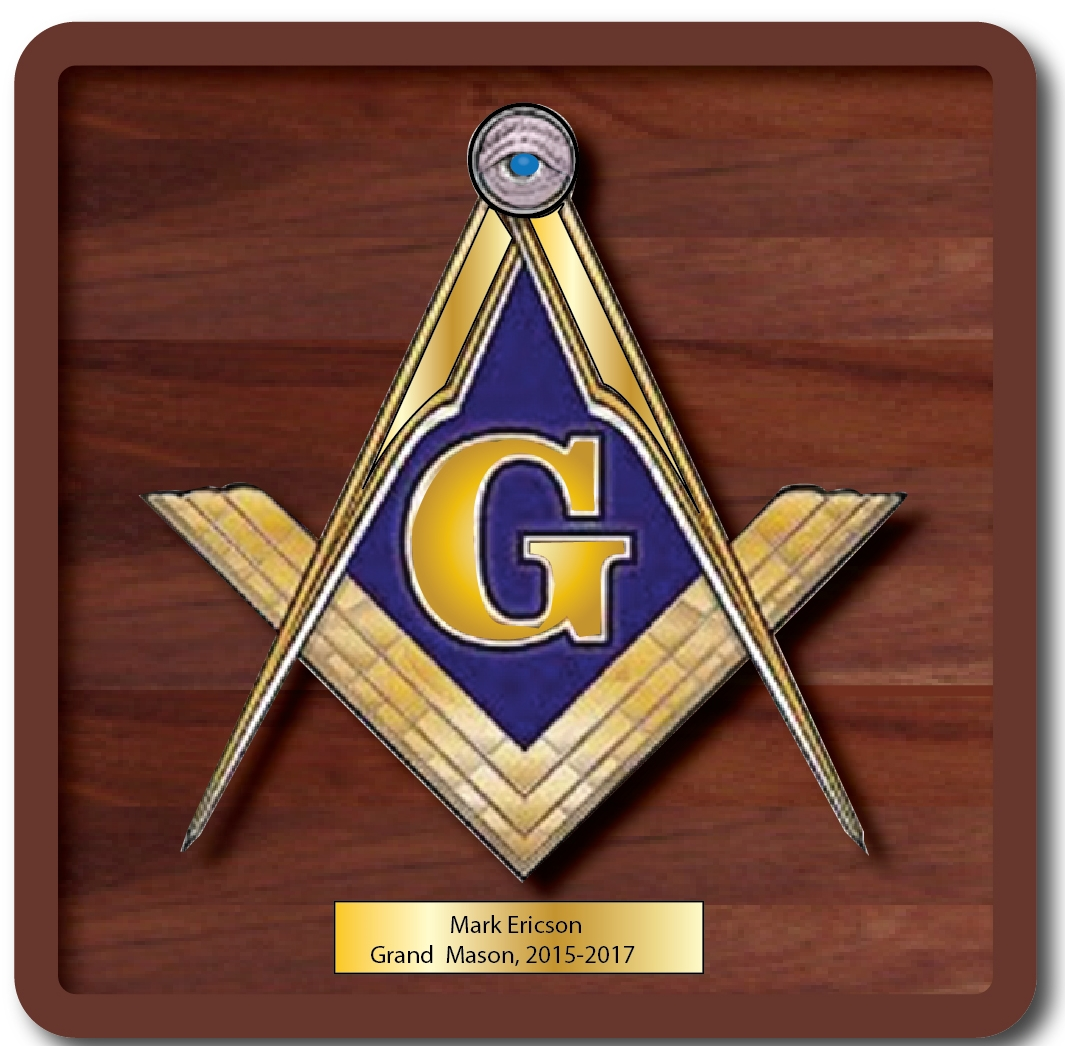 UP-2020 - Carved Wall Plaque of the Emblem of Masons, Personalized, Brass Plated on Mahogany Wood