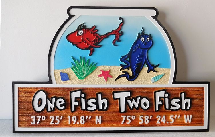 "L21395 - Carved and Sandblasted Property Name Sign ""One Fish, Two Fish"""
