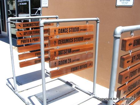 F15932 - Carved Wood Wayfinding or Directional Signs for San Francisco Museum